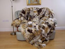 LUXURY REAL  FOX PELTS THROW BLANKET natural MIX COLOUR,  220cm X 190cm, 192