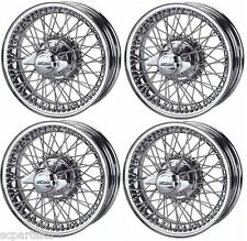 NEW SET OF 4 JAGUAR XK120 XK140 and XK150 CHROME WIRE WHEELS 5.0 X 16, 60 SPOKES