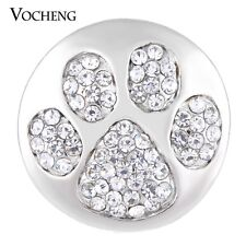 Vocheng 18mm Paw Print Snap Charm Bling Crystal DIY Jewelry Vn-1135