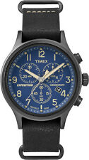 Timex TW4B04200 Men's Expdition Slip-On Leather Band Blue Dial Chronograph Watch
