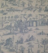 "F SCHUMACHER SIENA TOILE DELFT BLUE PASTORAL CUSHION LINEN FABRIC 1.5 YARDS 54""W"