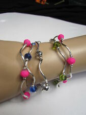 NEW WOMEN GREEN HOT PINK LIGHT BLUE BEADS FASHION JEWELRY FIVE BANGLES BRACELETS