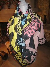 ~New w Tags Auth Karl Lagerfeld square scarf 100% Cotton Fun Bright Square pareo