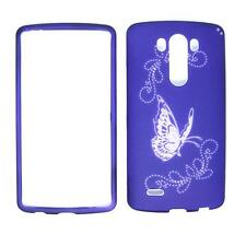 For LG Optimus G3 Purple Butterfly Cover Case Uni Snap on