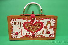 RARE Enid Collins EC Collins of Texas Box Purse Wooden My Heart Pants 4 U