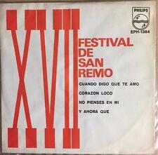 """FRANK ORLANDO/FAUSTO LEALI/ZANICCHI/GABER XVII FESTIVAL DE SAN REMO MEXICAN 7"""" E"""