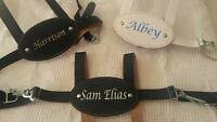 Personalised Leather Baby Reins. Traditional Clippasafe Reins Navy or White