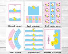 Pink Rubber Duck Printable Baby Shower Party Package