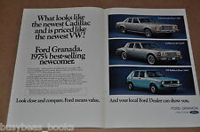 1975 Ford GRANADA advertisement, with comparison to Cadillac Seville & VW Rabbit