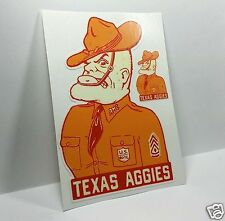 Texas A&M University AGGIES Ol' Sarge Vintage Style Mascot DECAL / Vinyl STICKER