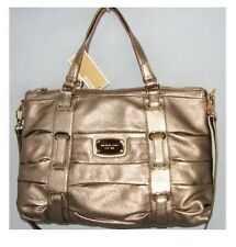 NEW-MICHAEL KORS ROUCHED GANSEVOORT BRONZE & GOLD TOTE, LARGE HAND BAG