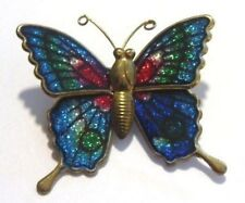 broche bijou vintage couleur or papillon émaillé vernis couleur relief *687