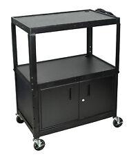 Luxor Steel Adj Height Extra Large AV Cart w/ Cabinet Black AVJ42XLC NEW