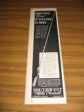 1946 Print Ad Sou-Wester Model 60 Fishing Rods Southwest Metal Prod Chicago,IL
