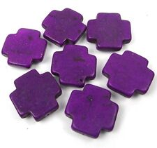 25mm Purple Turquoise Cross Beads (7 pcs)
