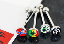 1 PK Of Pot Leaf, Flag Logo Epoxy Dome Ball Surgical Steel Bar Tongue Rings 14g