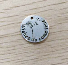 Quote Charms Pendants WISHES DO COME TRUE Antiqued Silver Dandelion Charms