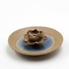 Pottery Earthenware Porcelain Tibet Buddhist Lotus Incense Holder-85mm*85mm*31mm