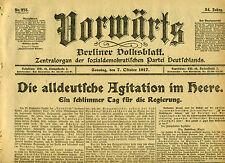 Sozialdemokratischen Zeitung VORWÄRTS 1917 Die alldeutsche Agitation im Heere