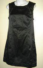 Calvin Klein Black Dress Zipper Detail LBD Sleeveless Wetlook Sheath Womens 10