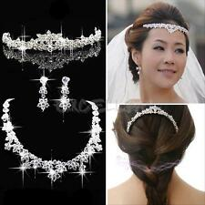 Silver Wedding Bridal Jewelry Set Crystal Tiara Crown Headpiece Necklace Earring