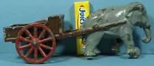 """AUTHENTIC OLD CAST IRON ELEPHANT PULLING A WAGON TOY 7 1/2""""  NOW ON SALE  CI 777"""