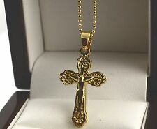 "18ct 18k Gold Plated Crucifix Cross Pendant with 18"" Chain Necklace -s33"