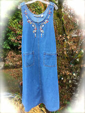 Jane Ashley Blue Denim Maxi Floral Embroidered Jumper Shift Dress~Buttons, Sz. L