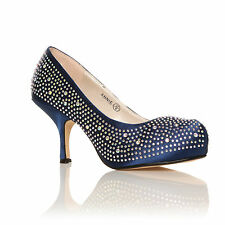WOMENS LADIES WEDDING PROM EVENING PLATFORM SHOES DIAMANTE MID HEELS SIZE 3-8