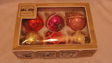 "6 VINTAGE 3"" GLASS BULB CHRISTMAS ORNAMENTS - WEST GREMANY / SHINY BRITE +"