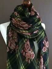 OVERSIZE LADIES/MENS SOFT ROSES & TARTAN PRINT FASHION SCARF*NAVY/GREEN*VISCOSE