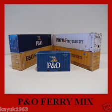 Model Shipping Containers P&O Ferrymasters Mix Free Card Kits x 7 HO Scale