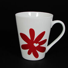 Starbucks Coffee RED FLOWER WHITE HEART 13 oz Mug Cup 2014 Valentine