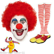 Unisex Ronald McDonald Clown Kit Wig MakeUp Nose Shoes Socks Fancy Dress Costume