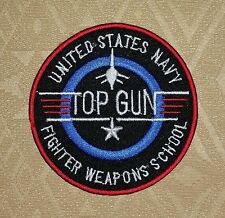 USA NAVY TOP GUN, IRON-ON EMBROIDERED PATCH / BADGE / LOGO