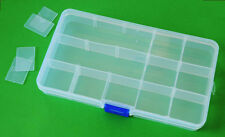 15 Grid Slot Compartment Plastic Adjustable Storage Box Jewellery Tool Container