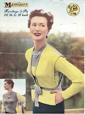 VINTAGE 1950'S KNITTING PATTERN TWIN SET TIE-BELT WAISTCOAT & REVERSIBLE JUMPER