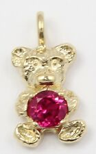 10k Yellow Gold Red Stone Teddy Bear Charm Pendant