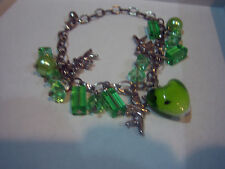 CUPID HEART GREEN RESIN BEADS CHARM BRACELET
