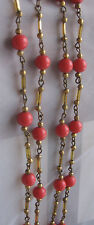 "Vintage Art Deco 67"" Coral PINK Plastic Bead Flapper Necklace Wired Brass Tube"