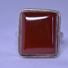 STERLING SILVER MENS LARGE RECTANGULAR CARNELIAN RING -- SIZE 9.5