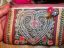 NWT INDIAN EMBROIDERED SEQUINED EVENING CLUTCH PURSE BAG WALLET W TASSEL ZIPPER