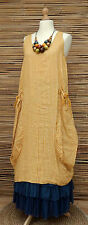 LAGENLOOK LINEN AMAZING BOHO STRIPED LONG TUNIC-DRESS*MUSTARD*SIZE 12-16 OSFA