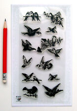 """Clear Stamps Lot (4""""x7"""") Small Birds Engraving FLONZ Vintage Rubber Stamps 041"""