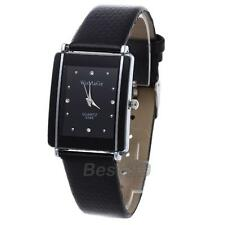 Montre Bracelet en Cuir Strass Mouvement à Quartz Rectangle Mode Femme NOIR