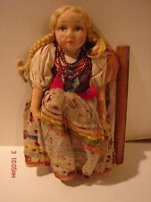 VINTAGE FELT CLOTH STOCKINETTE DOLL DUTCH STYLE CLOTHING PAINTED FACE WOMAN