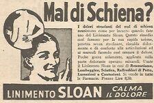 W7347 Mal di schiena? Linimento SLOAN - Pubblicità del 1932 - Old advertising