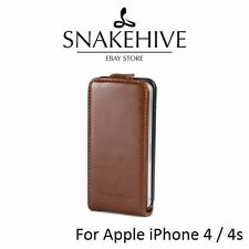 SNAKEHIVE® Premium Tan Leather Flip Case Cover for Apple iPhone 4 4s