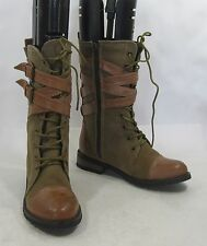 New Brown Lace Rugged Military Combat sexy ankle  boot size  6
