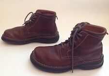 Men's Born 6-Eye Lace Up Brown Leather Square Toe Casual Ankle Boots Sz.8
